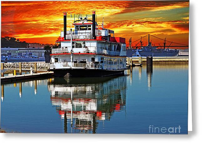 Reflections Of Sky In Water Greeting Cards - The End of a Beautiful Day in the San Francisco Bay Greeting Card by Jim Fitzpatrick