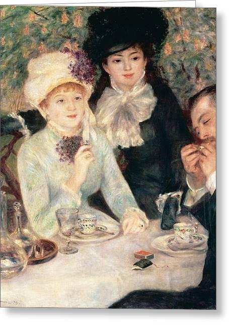 The End Of Breakfast Greeting Card by Pierre Auguste Renoir