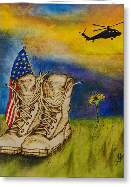Military Pyrography Greeting Cards - The End of War Greeting Card by Andrea Urrego Corredor