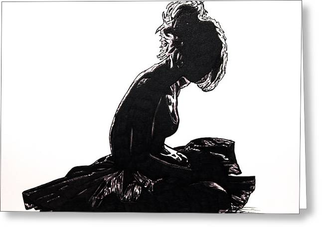 Ballet Dancers Drawings Greeting Cards - The End Show Sadness  Greeting Card by Karin Celeste