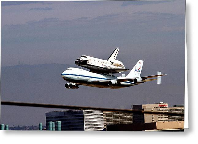 The Endeavor And Her 747 Final Landing At Lax Greeting Card by Denise Dube