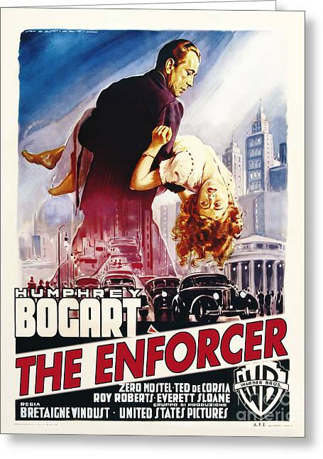 Classic Hollywood Photographs Greeting Cards - The Enforcer Movie Poster - Bogart Greeting Card by MMG Archive Prints