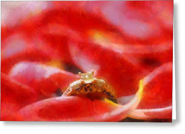 Rose Petals Mixed Media Greeting Cards - The Engagement Greeting Card by Dan Sproul