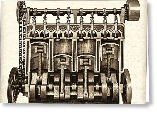 Camshaft Greeting Cards - The Engine - Sepia Greeting Card by Martin Bergsma