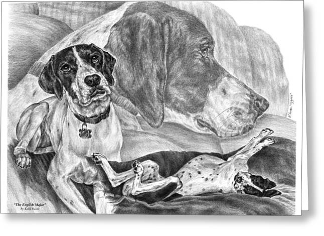 Kelly Greeting Cards - The English Major - English Pointer Dog Greeting Card by Kelli Swan
