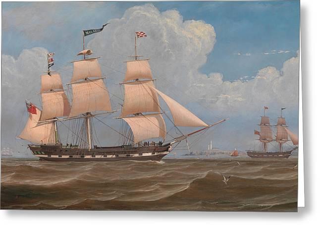 Merchant Ship Greeting Cards - The English Merchant Ship Malabar Greeting Card by William Clark