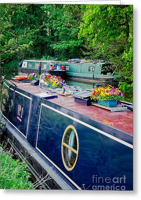 Covered Barge Greeting Cards - The English way - colourful canal boats at rest Greeting Card by David Hill