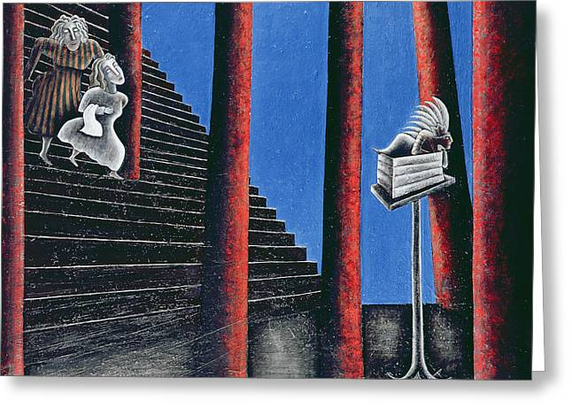 Staircase Greeting Cards - The Enigma Of Descent, 1993 Oil On Canvas Greeting Card by Celia Washington