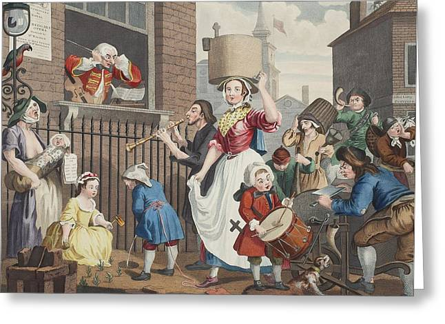 Crying Drawings Greeting Cards - The Enraged Musician, Illustration Greeting Card by William Hogarth