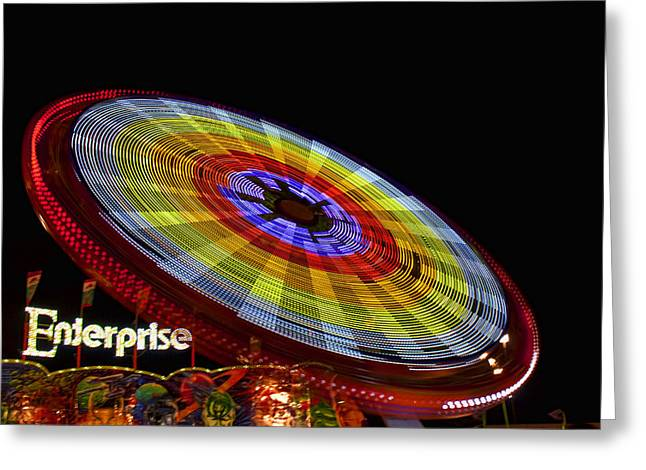Enterprise Greeting Cards - The Enterprise Amusement Park Ride Greeting Card by Deb Cloer