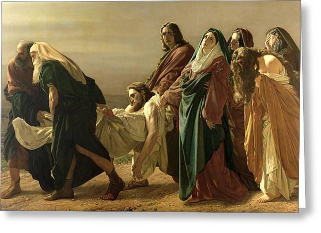 Virgin Mary Photographs Greeting Cards - The Entombment, 1883 Oil On Canvas Greeting Card by Antonio Ciseri