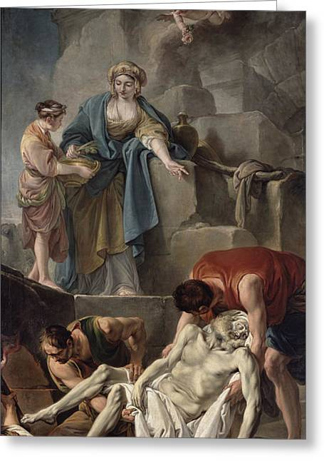 Martyrs Greeting Cards - The Entombment Of St. Andrew, 1760 Oil On Canvas Greeting Card by Jean Baptiste Deshays de Colleville