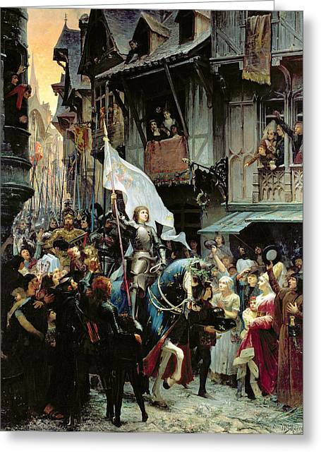 Martyrs Photographs Greeting Cards - The Entrance Of Joan Of Arc 1412-31 Into Orleans On 8th May 1429 Oil On Canvas Greeting Card by Jean-Jacques Scherrer