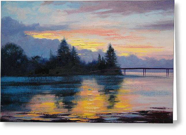 Central Coast Greeting Cards - The Entrance Sunset Greeting Card by Graham Gercken