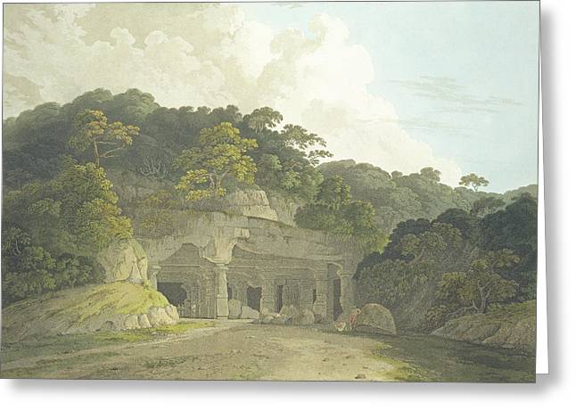 Caves Drawings Greeting Cards - The Entrance To The Elephanta Cave Greeting Card by Thomas & William Daniell