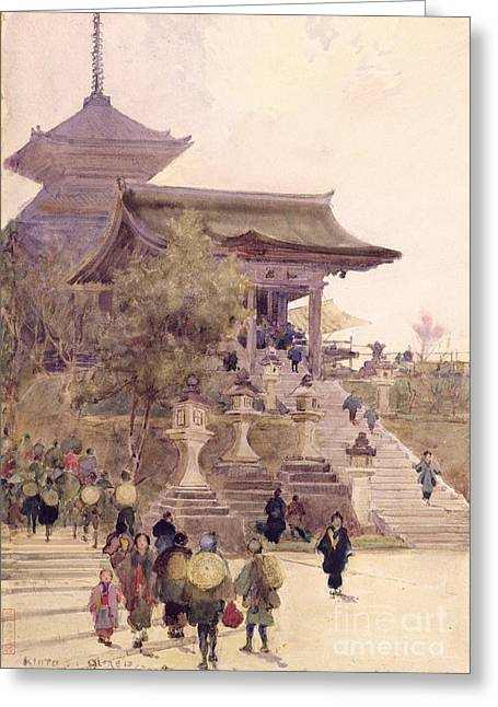 Kimono Greeting Cards - The Entrance to the Temple of Kiyomizu Dera Kyoto Greeting Card by Sir Alfred East