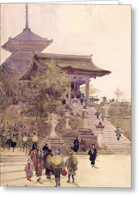 Kimono Greeting Cards - The Entrance To The Temple Greeting Card by Sir Alfred East