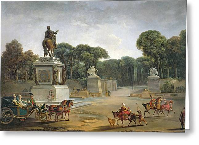 Concorde Greeting Cards - The Entrance To The Tuileries From The Place Louis Xv In Paris, C.1775 Oil On Canvas Greeting Card by Jacques Philippe Joseph de Saint-Quentin