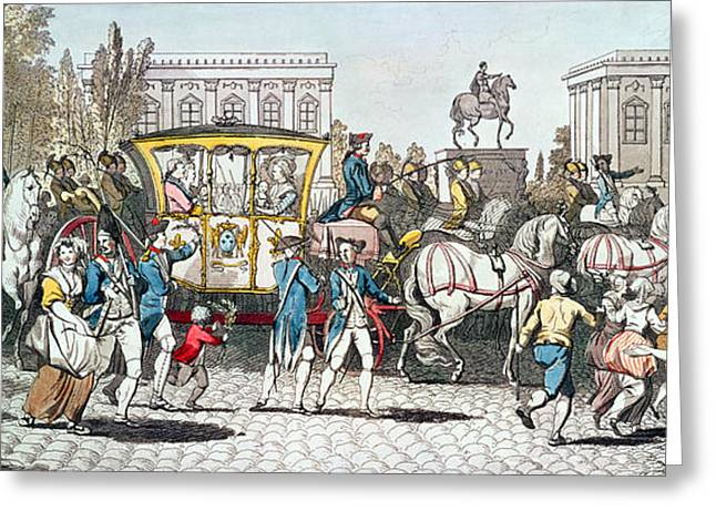 The Entry Of Louis Xvi 1754-93 Into Paris, 6th October 1789 Coloured Engraving Greeting Card by English School