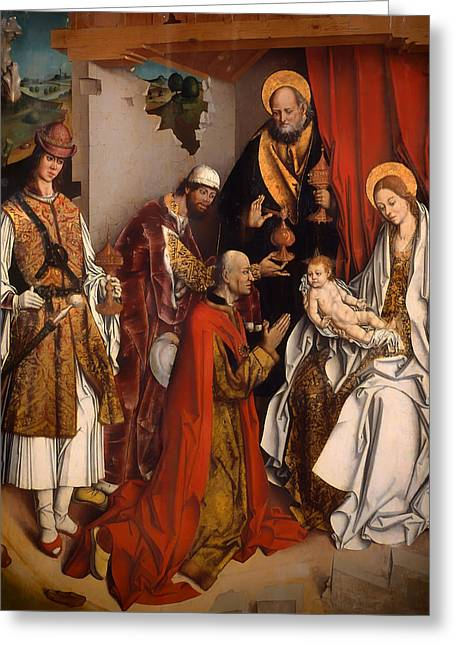 Religious work Paintings Greeting Cards - The Epiphany Greeting Card by Fernando Gallego