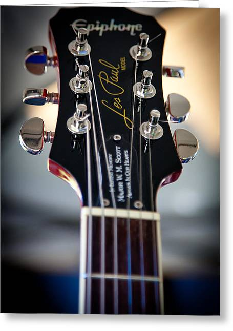 The Epiphone Les Paul Guitar Greeting Card by David Patterson