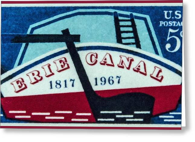 The Erie Canal Stamp Greeting Card by Lanjee Chee