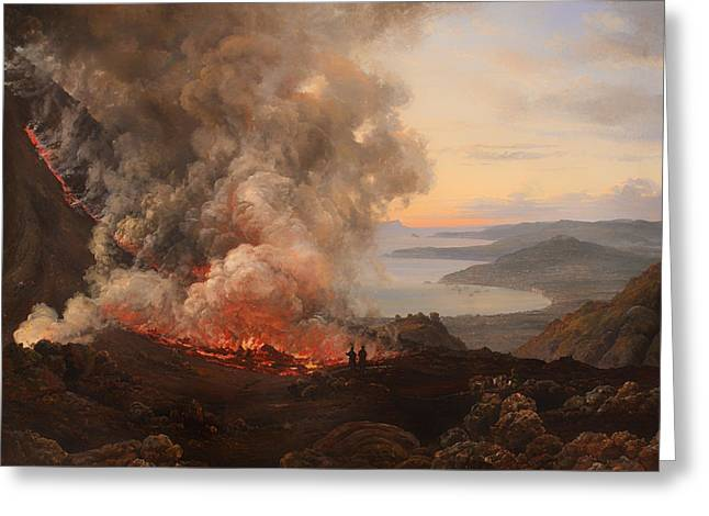 Smoky Paintings Greeting Cards - The Eruption of the Volcano Vesuvius  Greeting Card by J C Dahl