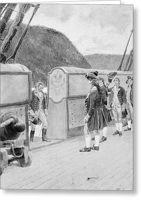 Brandywine Greeting Cards - The Escape Of Arnold On The British Sloop-of-war Vulture, Illustration From General Washington Greeting Card by Howard Pyle