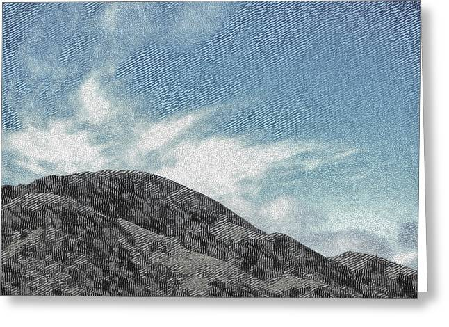 Linocut Greeting Cards - The Etched Mountains  Greeting Card by Steve Taylor