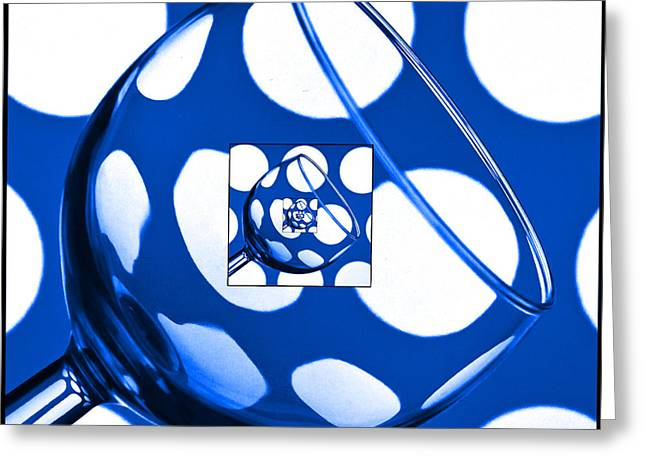 Wine Reflection Art Greeting Cards - The Eternal Glass Blue Greeting Card by Steve Purnell