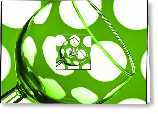 Wine Reflection Art Greeting Cards - The Eternal Glass Green Greeting Card by Steve Purnell