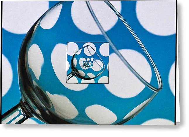 Wine Reflection Art Greeting Cards - The Eternal Glass Light Blue Greeting Card by Steve Purnell