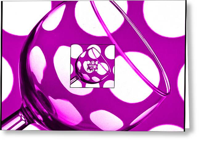 Wine Reflection Art Greeting Cards - The Eternal Glass Pink Greeting Card by Steve Purnell