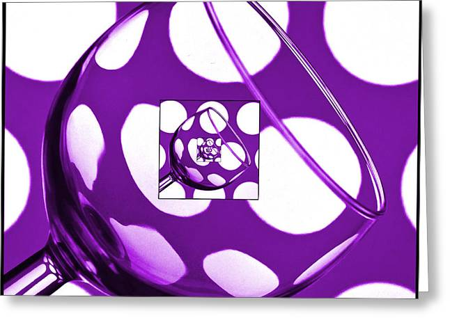 Wine Reflection Art Greeting Cards - The Eternal Glass Purple Greeting Card by Steve Purnell