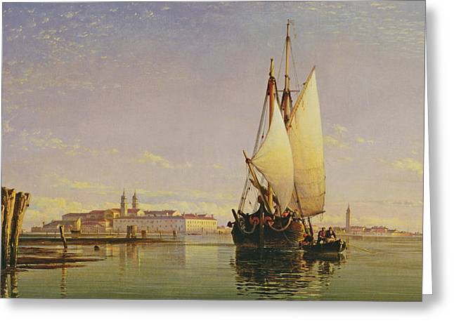 Italian Islands Greeting Cards - The Euganean Hills and the Laguna of Venice - Trabaccola Waiting for the Tide Sunset Greeting Card by Edward William Cooke