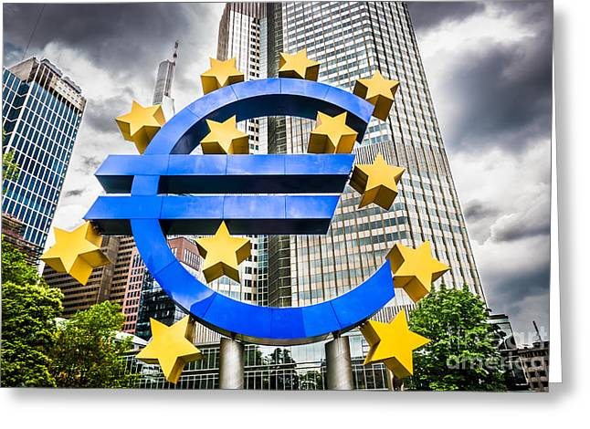 Financial Crisis Greeting Cards - The Euros dark future Greeting Card by JR Photography