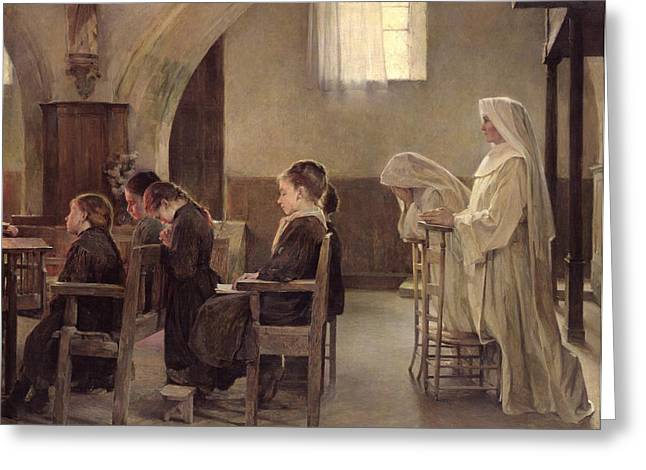 Prayer Service Greeting Cards - The Eve of the First Communion Greeting Card by Henri Alphonse Louis Laurent-Desrousseaux