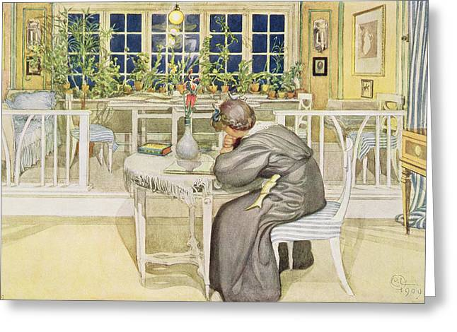 Pensive Greeting Cards - The Evening Before The Journey Greeting Card by Carl Larsson