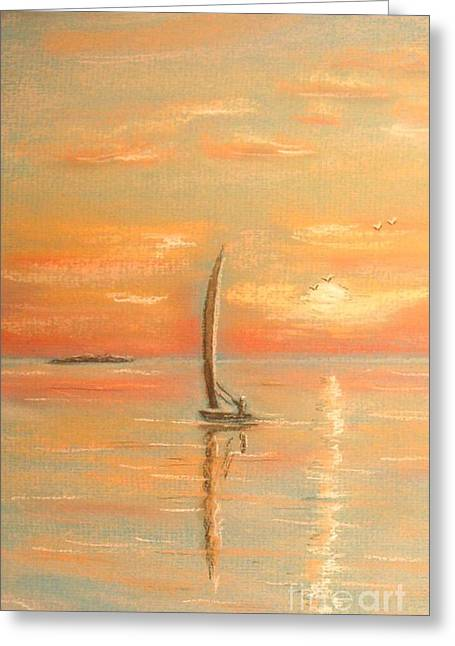 Ocean Sailing Pastels Greeting Cards - The Evening Light Greeting Card by The Beach  Dreamer