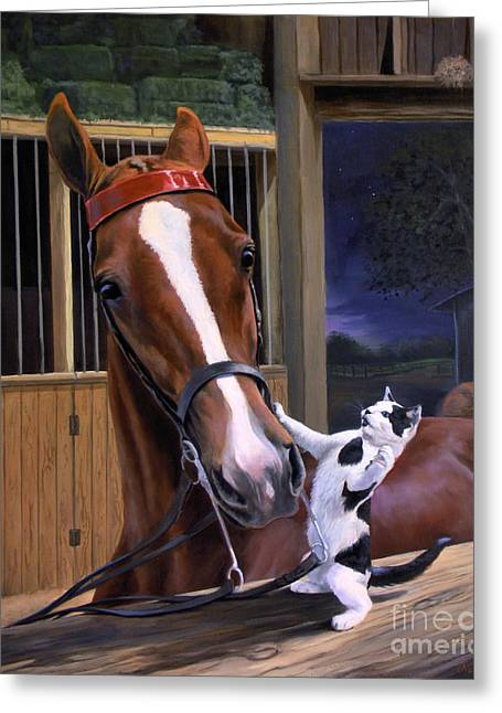 American Saddlebred Greeting Cards - The Evening Post Greeting Card by Jeanne Newton Schoborg