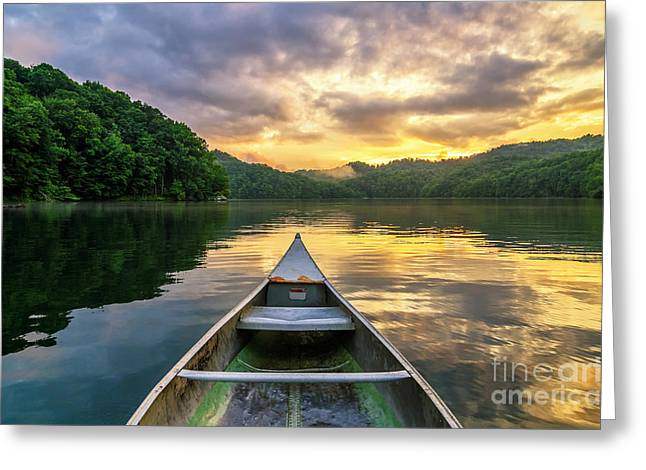 Canoe Photographs Greeting Cards - The evening show Greeting Card by Anthony Heflin