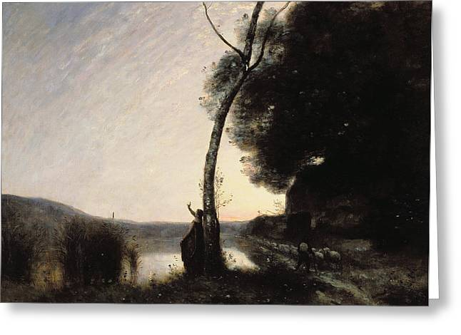 Shepherds Greeting Cards - The Evening Star Greeting Card by Jean Baptiste Camille Corot