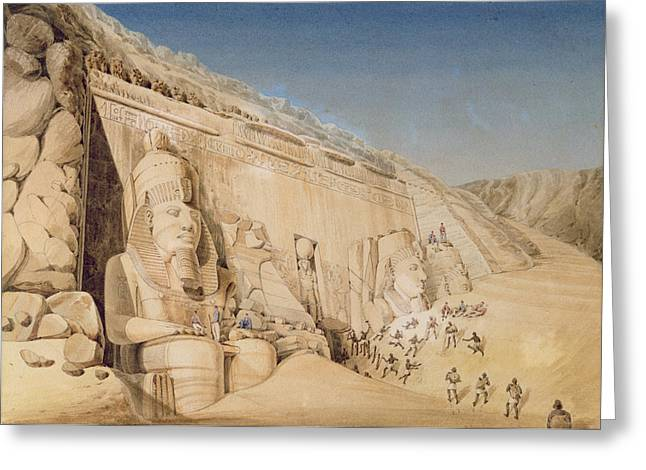 Colossal Greeting Cards - The Excavation Of The Great Temple Greeting Card by Louis M.A. Linant de Bellefonds