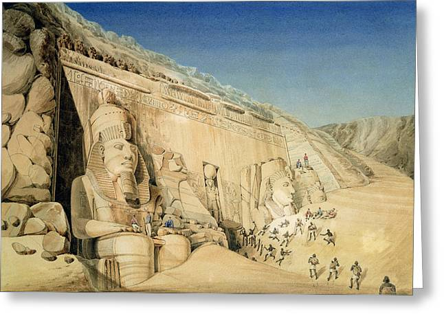 Ancient Egypt Greeting Cards - The Excavation of the Great Temple of Ramesses II Greeting Card by Louis MA Linant de Bellefonds