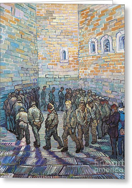 Prisoner Paintings Greeting Cards - The Exercise Yard Greeting Card by Vincent Van Gogh