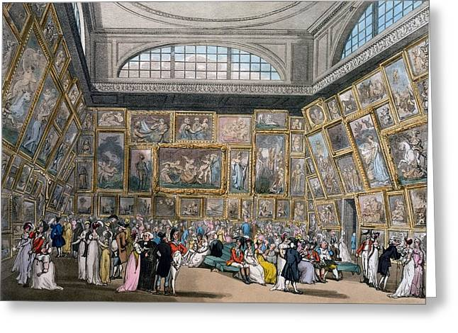 Connoisseur Greeting Cards - The Exhibition Room At Somerset House Greeting Card by T. & Pugin, A.C. Rowlandson