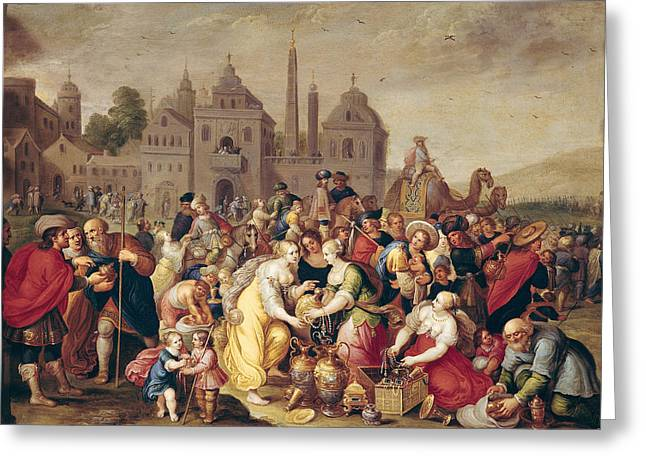 Treasures Greeting Cards - The Exodus Or The Vases Of The Egyptians Oil On Canvas Greeting Card by Frans II the Younger Francken