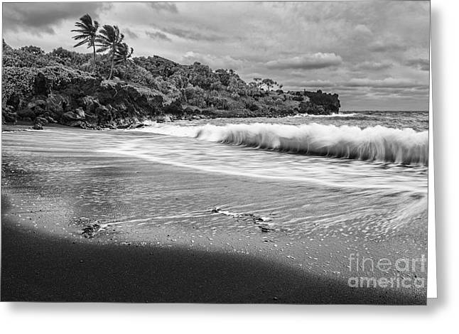 The Exotic And Famous Black Sand Beach Of Waianapanapa State P Greeting Card by Jamie Pham