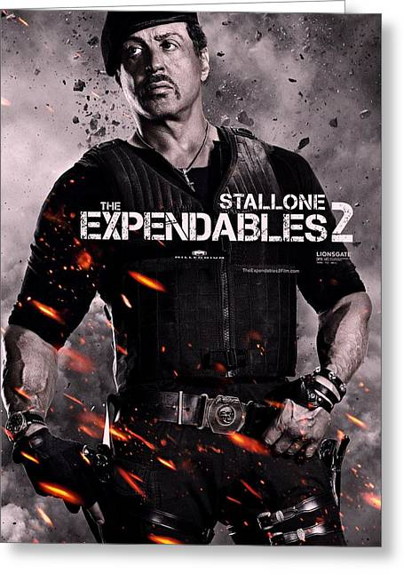 Movie Poster Gallery Greeting Cards - The Expendables 2 Stallone Greeting Card by Movie Poster Prints