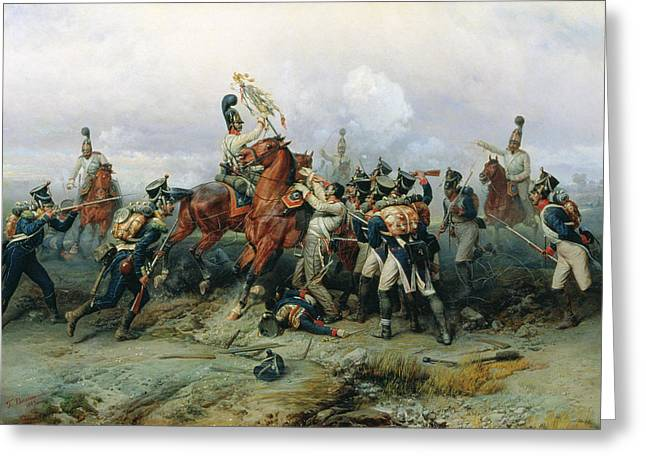 Dead Soldier Greeting Cards - The Exploit Of The Mounted Regiment In The Battle Of Austerlitz, 1884 Oil On Canvas Greeting Card by Bogdan Willewalde